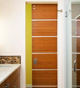 Custom Bamboo Door with Steel Trim