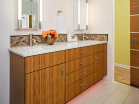 Bamboo Cabinetry with Toe Kick Lighting
