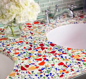Recycled Glass Custom Mix Vanity Countertop