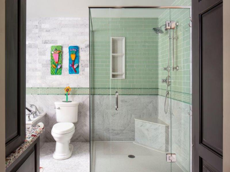 Marble and Glass Tile Shower