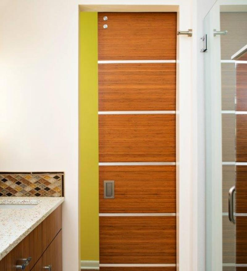Custom Bamboo Door with Steel Trim